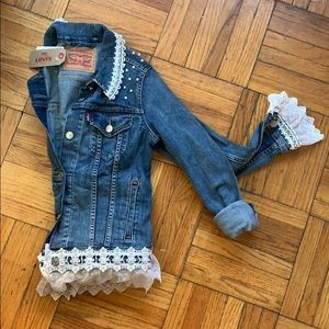 Levi's Denim Faux Pearl and Lace Jacket